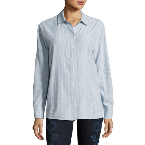 Pacific Long-Sleeve Linen-Cotton Shirt, Blue/White
