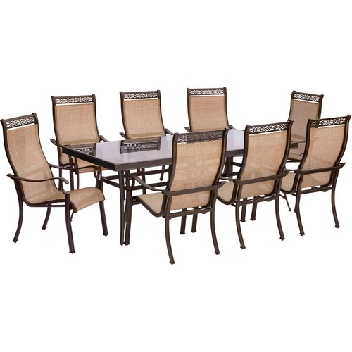 Hanover Monaco 9-Piece Aluminum Outdoor Dining Set with Rectangular Glass-Top Table and Contoured Sling Stationary Chairs