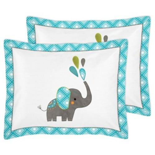 Turquoise & White Mod Elephant Comforter Set (Full/Queen) - Sweet Jojo Designs