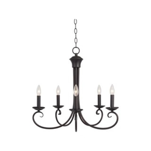 5-light Bronze Loft Single Tier Chandelier