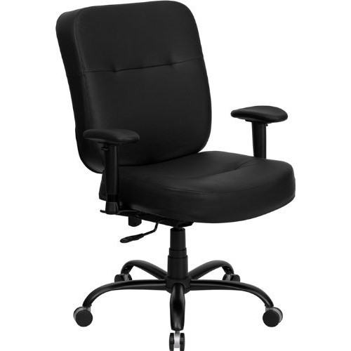 Flash Furniture HERCULES Series Big & Tall 400 lb. Rated Black Leather Executive Swivel Chair with Adjustable Arms [Black Leather]