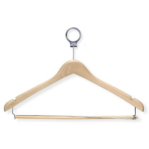 Honey-Can-Do HNG-01735 Hotel Suit Hangers- Locking Bar, Maple, 24-Pack [Maple]