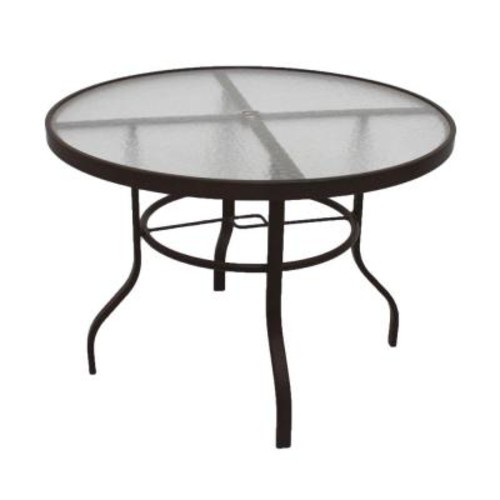 Marco Island 42 in. Dark Cafe Brown Acrylic Top Commercial Metal Outdoor Patio Dining Table