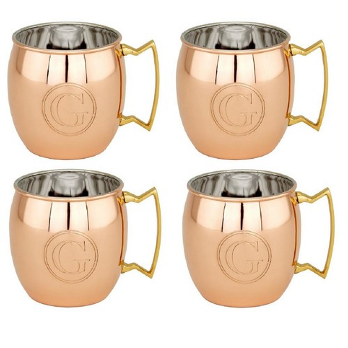 Dutch 16 oz. Solid Copper Moscow Mule Mugs and Monogram F (Set of 4)