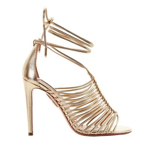 AQUAZZURA Nadja Strappy Gold Leather Sandals