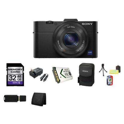 Sony DSC-RX100M II Cyber-shot Digital Still Camera 20.2MP, Black + 32GB SDHC Class 10 Memory Card + External Rapid Charger + NP-BX1 battery + Sony Carrying Case + Table Top Tripod, Lens Cleaning Kit, LCD Protector + USB SDHC Reader + Memory Wallet