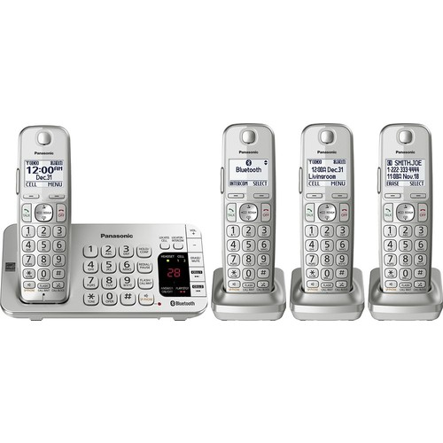 Panasonic - KX-TGE474S Linc2Cell DECT 6.0 Expandable Cordless Phone System with Digital Answering System - Silver