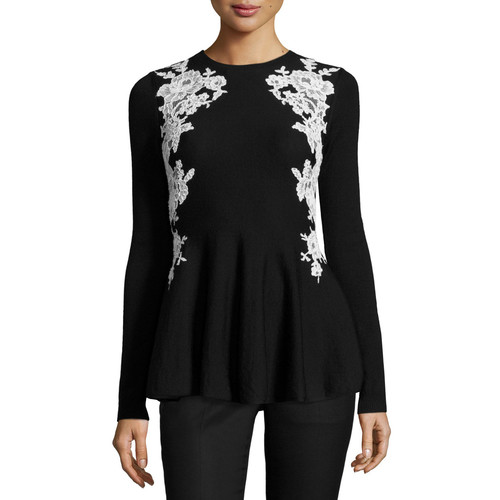OSCAR DE LA RENTA Lace-Trim Knit Peplum Sweater, Black/White