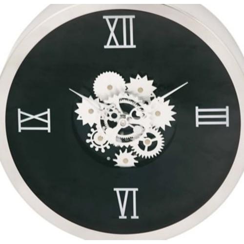 Cole & Grey Stainless Steel Gear 20'' Wall Clock; Black