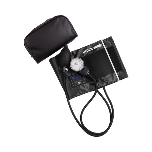 MABIS LEGACY Series Aneroid Sphygmomanometer Manual Blood Pressure Monitor with Calibrated Black Nylon Arm Cuff, Cuff Size 11 to 16.4 Inches, Adult