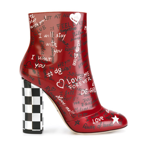 Red Leather graffiti 120 ankle boots
