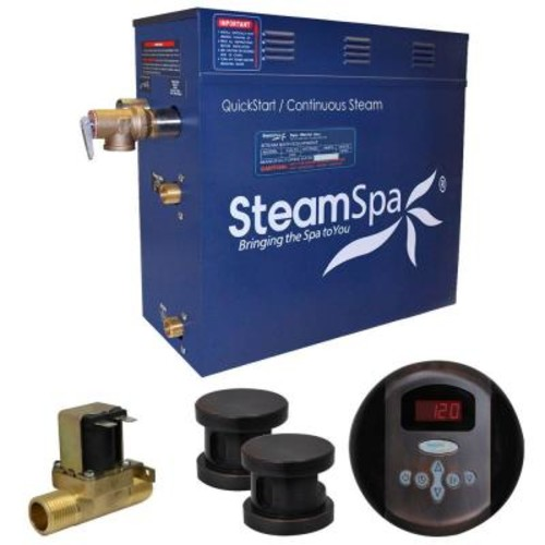 SteamSpa Oasis 12kW QuickStart Steam Bath Generator Package with Built-In Auto Drain in Oil Rubbed Bronze