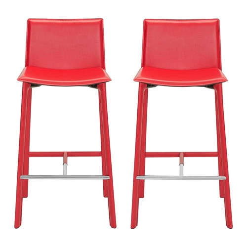 Madison Ave 30-inch Red Leather Bar Stool (Set of 2)
