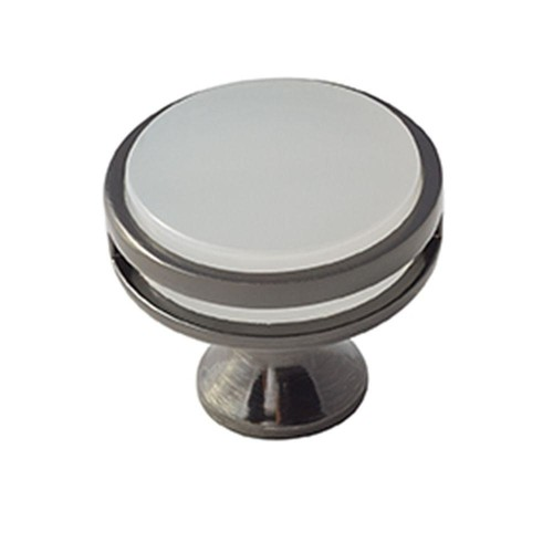Amerock Oberon 1-3/8 in. (35 mm) Gunmetal/Frosted Acrylic Cabinet Knob