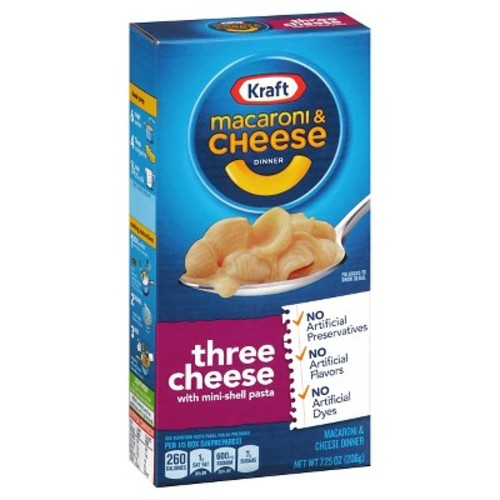 Kraft Three Cheese with Mini-Shell Pasta Macaroni & Cheese Dinner 7.25 oz