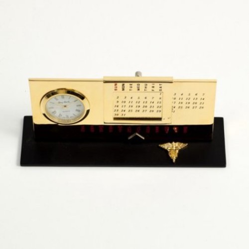 Bey-Berk International Nursing Perpetual Calendar with Clock - Gold Plated