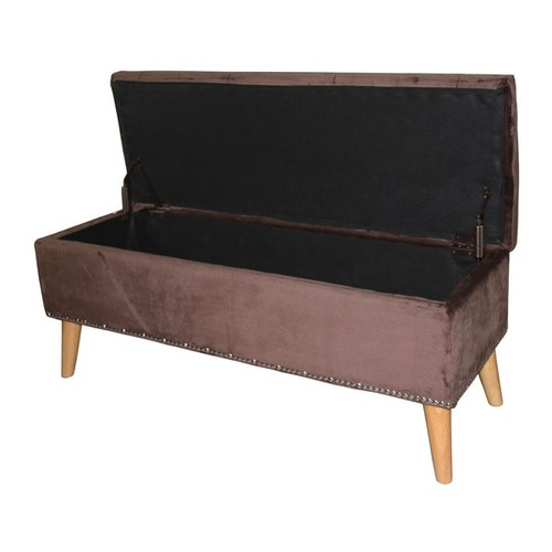 Ore 17-inch Tufted Suede Storage Bench [option : Grey]