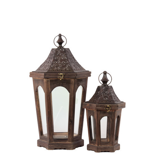 Urban Trends Wood Hexagonal Lantern with Black Pierced Metal Top, Ring Hanger and Glass Windows Set of Two Weathered Wood Finish