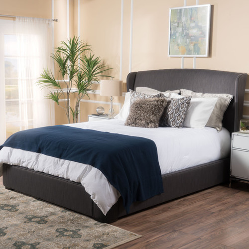 Nocturne Upholstered Fabric Queen Bed Set by Christopher Knight Home [option : Grey]