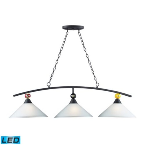 Elk Lighting Buckingham 3 Light Kitchen Island Pendant in Matte Black
