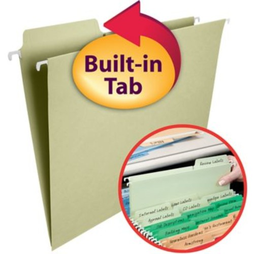 Smead FasTab Hanging File Folders, 1/3-Cut Built-in Tab, Letter Size, 15 per Box (64084)