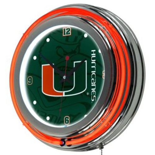 Trademark University of Miami 14 in. Round Fade Neon Wall Clock