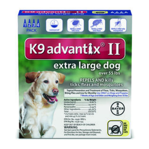 K9 Advantix II for Extra Large Dogs (Over 55 lbs 4 Months Supply)