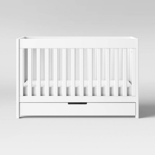 Babyletto Mercer 3-in-1 Convertible Crib with Toddler Bed Conversion Kit, White [White, Crib]