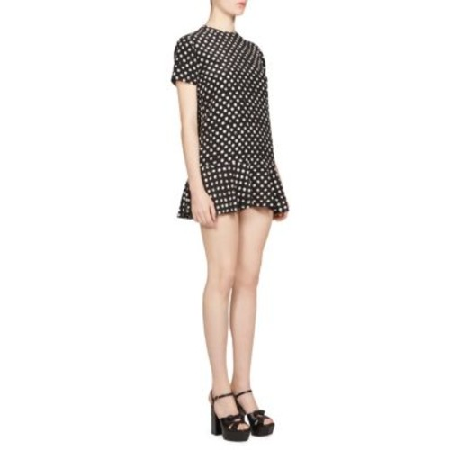 SAINT LAURENT Lipstick Dot Crepe De Chine Mini Dress