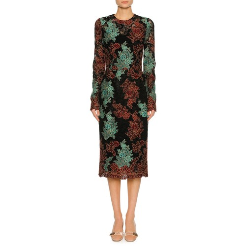 DOLCE & GABBANA Lace-Embroidered Long-Sleeve Cocktail Dress