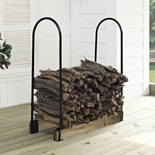 Crosley Furniture Hartman Adjustable Firewood Storage Rack - Black [Black, None]