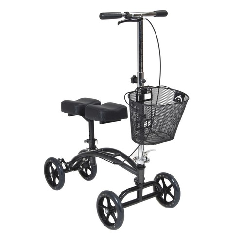 Drive Medical Dual Pad Steerable Knee Walker with Basket, Alternative to Crutches, Silver