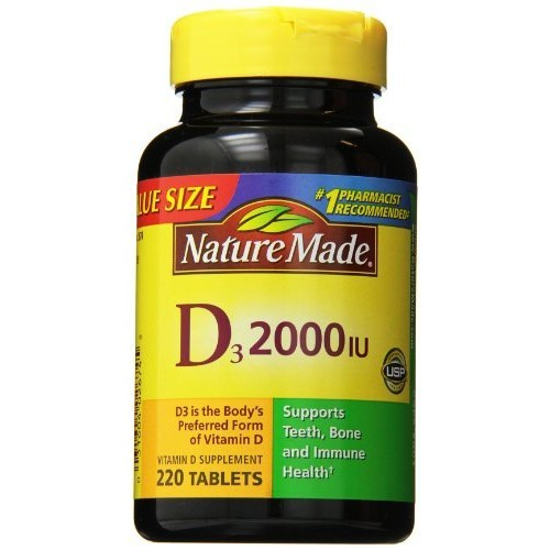 Nature Made Vitamin D3 2000 IU Tablets Value Size 220 Ct [2000 I.U., 220 Count]