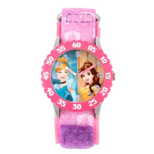 Disney Princess Children's 32mm Time Teacher Watch in Stainless Steel with Purple Nylon Strap