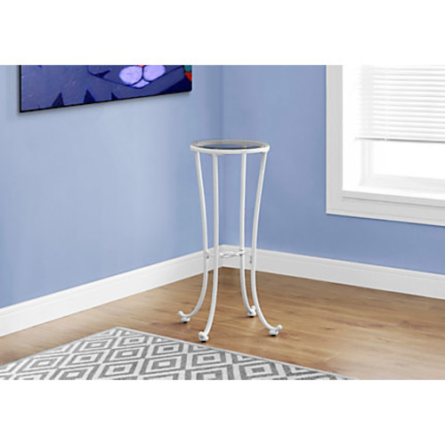 Monarch Specialties Plant Accent Table, Round, Clear/White