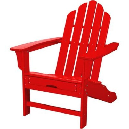 Hanover All-Weather Adirondack Chair w/Attached Ottoman - Sunset Red