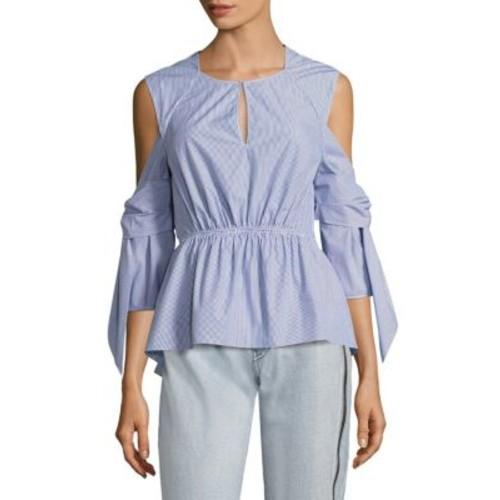 3.1 PHILLIP LIM Striped Cold-Shoulder Peplum Shirt