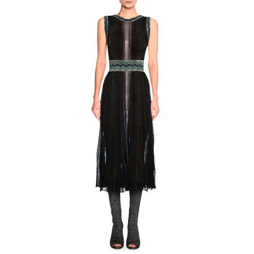 MISSONI Sleeveless Lurex® Metallic Midi Dress, Black