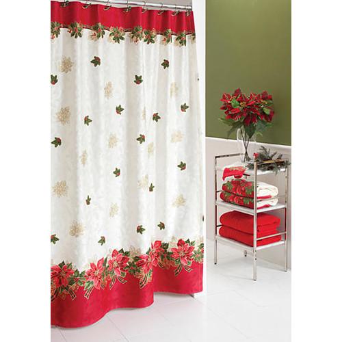 Lenox Tartan Poinsettia Shower Curtain