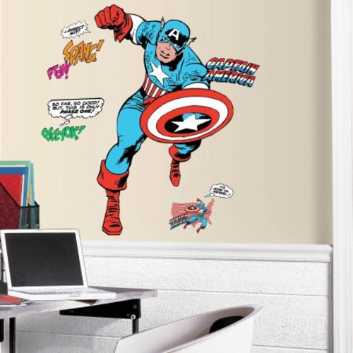 RoomMates Decor Classic Captain America Comic Peel-and-Stick Giant Wall Decals