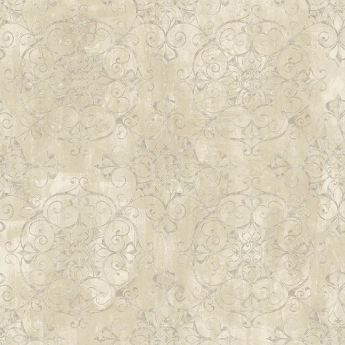 Chesapeake Aubrey Beige Crystal Medallion Texture Wallpaper