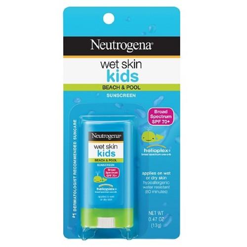 Neutrogena Wet Skin Kids Sunscreen Stick, SPF 70, 0.47 oz (Pack of 3)