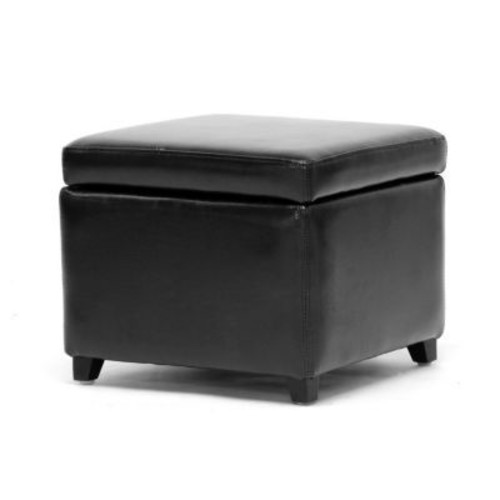Baxton Studio Linden Leather Small Storage Cube Ottomans