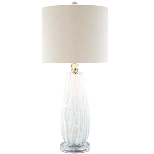 River of Goods 28.5 in. White Table Lamp with Sophisticated Serenity Glass Base and Linen Shade