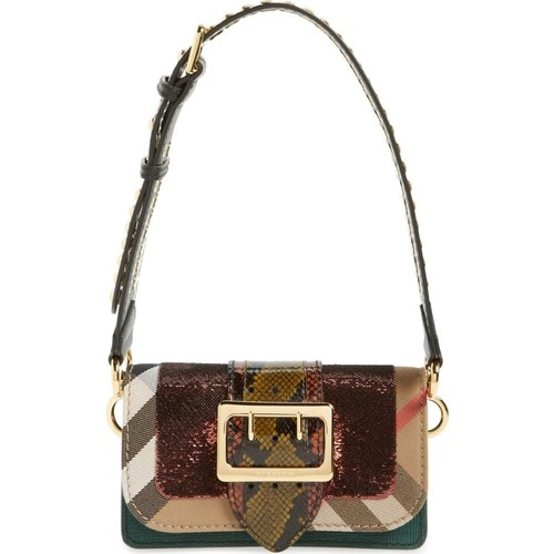 BURBERRY 'Belt Bag' Mixed Finish Convertible Clutch With Genuine Snakeskin Trim