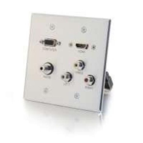 C2G HDMI,VGA,3.5mm,Composite Video and Stereo Audio Pass-through Wall Plate Aluminum