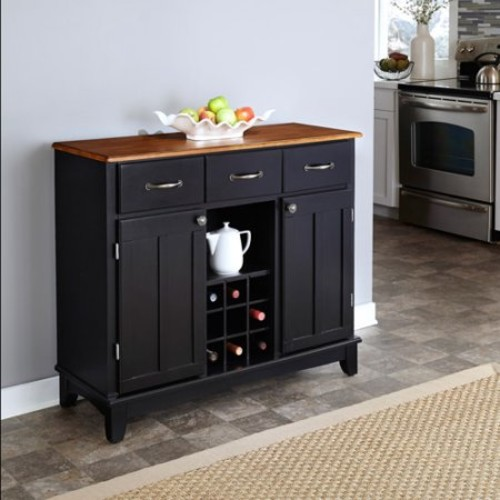 Home Styles Black and Cottage Oak Buffet with Wine Storage