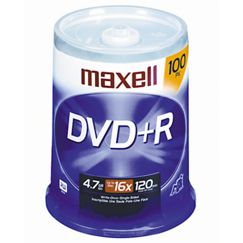 Maxell DVD+R Recordable Media Spindle, 4.7GB/120 Minutes, Pack Of 100