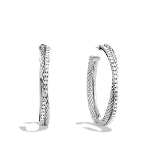 Crossover Extra Large Hoop Earrings with Diamonds
