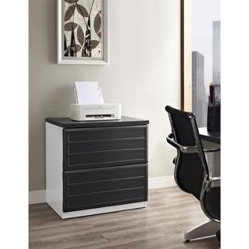 Altra Furniture 9522296 Pursuit Lateral File Cabinet, White and Gray Finish